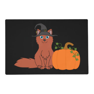 Natural Red Fox with Halloween Pumpkin Laminated Placemat