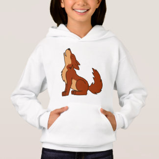 Natural Red Wolf Pup Howling Hoodie