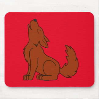 Natural Red Wolf Pup Howling Mouse Pad