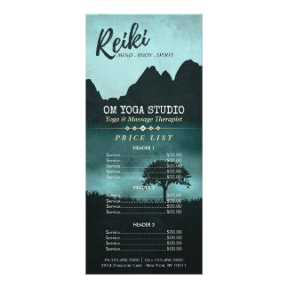 Natural Reiki Master & Yoga Instructor Price List Rack Card