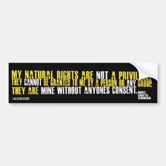 NATURAL RIGHTS CAR BUMPER STICKER