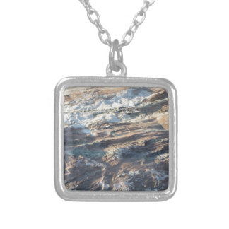 Natural rock texture and surface background square pendant necklace