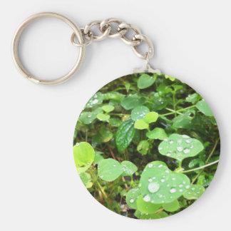 Natural Round Leaves Basic Round Button Keychain