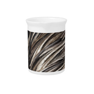 Natural Shimmering Bird Feathers Beverage Pitcher