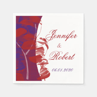 Natural Silhouettes: Red and Purple Leaf Design Standard Cocktail Napkin