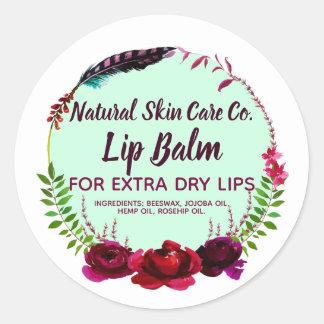 Natural Skin Care Handmade Lip Balm Classic Round Sticker