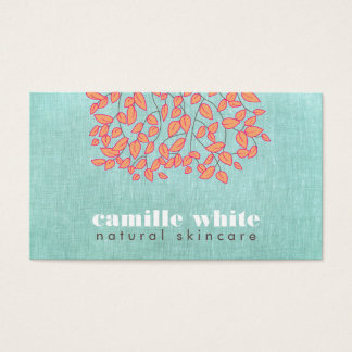 Natural Skincare Beauty Blue Turquoise Linen Look Business Card