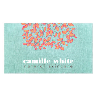 Natural Skincare Beauty Blue Turquoise Linen Look Double-Sided Standard Business Cards (Pack Of 100)