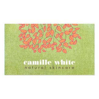 Natural Skincare Beauty Light Green Linen Look Business Card