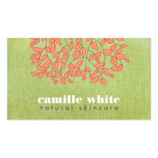 Natural Skincare Beauty Light Green Linen Look Double-Sided Standard Business Cards (Pack Of 100)