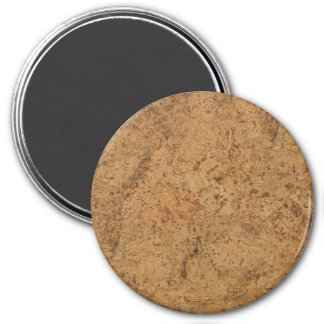 Natural Smoke Cork Bark Wood Grain Look 3 Inch Round Magnet