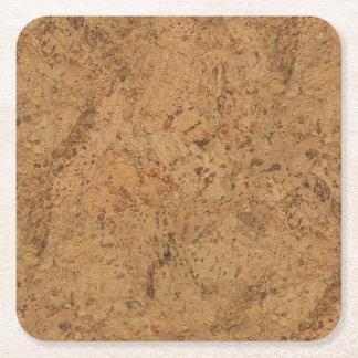 Natural Smoke Cork Bark Wood Grain Look Square Paper Coaster