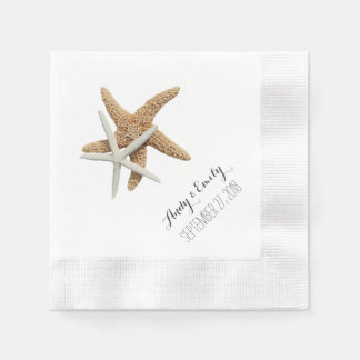 Natural Starfish Couple White Personalized Wedding Paper Napkin