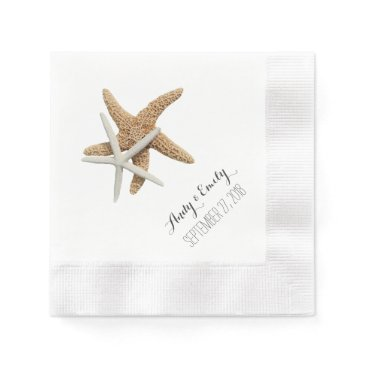 sandpiperwedding Natural Starfish Couple White Personalized Wedding Paper Napkin