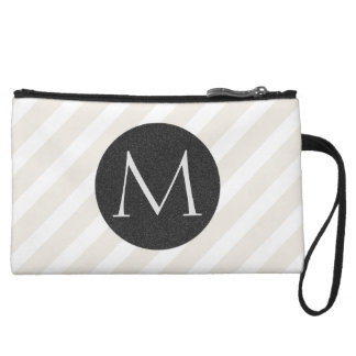 Natural Stripes and Faux Charcoal Glitter Monogram Wristlet Wallet