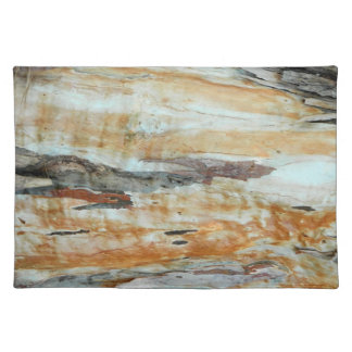 Natural tree bark colorful orange and gray picture cloth placemat