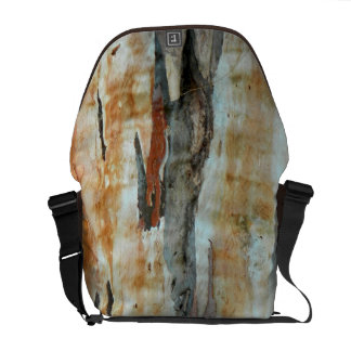 Natural tree bark colorful orange and gray picture messenger bag