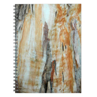 Natural tree bark colorful orange and gray picture notebook
