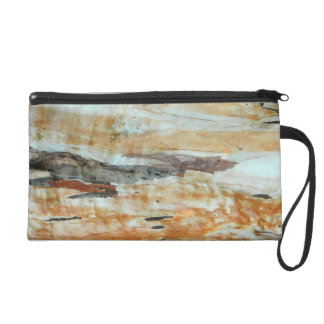 Natural tree bark colorful orange and gray picture wristlet purse