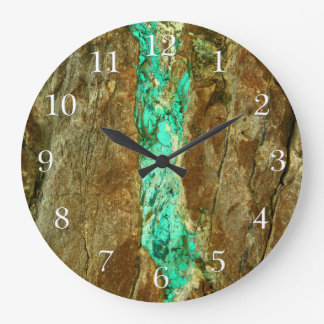 Natural turquoise vein in rough brown stone clocks
