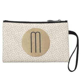 Natural Wavedot Pattern, Faux Blonde Gold Monogram Wristlet Wallet