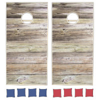 Natural Weathered Wood Boards with Rustic Patina Cornhole Set