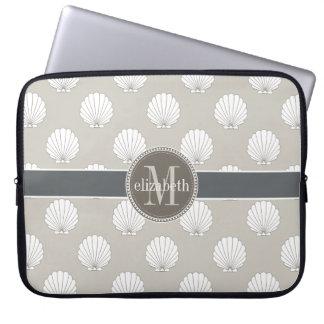 Natural | White Clamshells Seashells Monogram Computer Sleeve