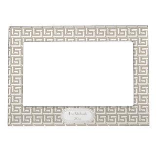 Natural   White Greek Key Pattern Monogram Magnetic Picture Frame