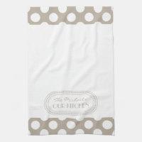 Natural   White Polka Dots Pattern Monogram Kitchen Towel