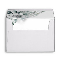 Natural White Watercolor Flowers Wedding Envelope
