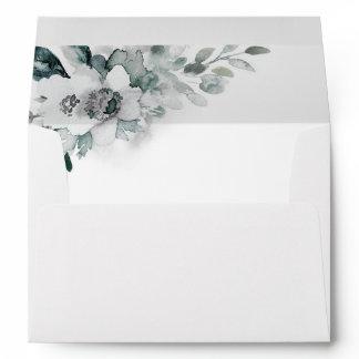 Natural White Watercolor Flowers Wedding Envelope