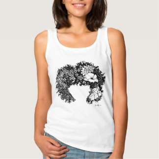 Natural Woman- Flowered Afro Hair Tank Top