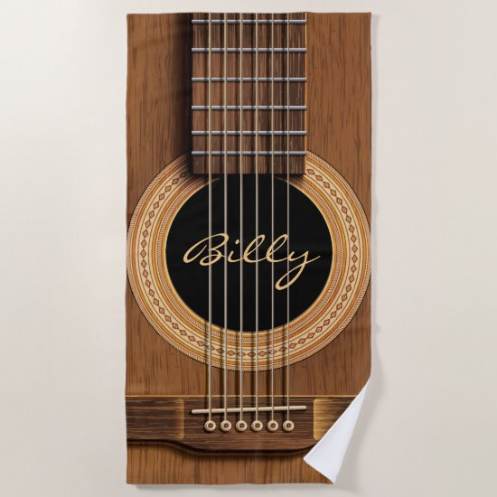 Natural Wood Acoustic Guitar Close Up Personalized Beach Towel