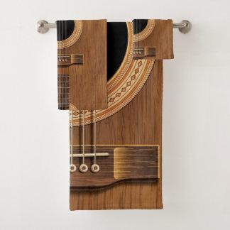 Natural Wood Acoustic Guitar Music Towel Set