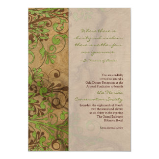 Natural Wood and Floral Fundraiser or Corporate 5x7 Paper Invitation Card