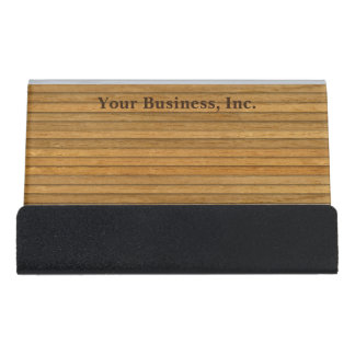 Natural Wood Clapboard Personalized Desk Business Card Holder