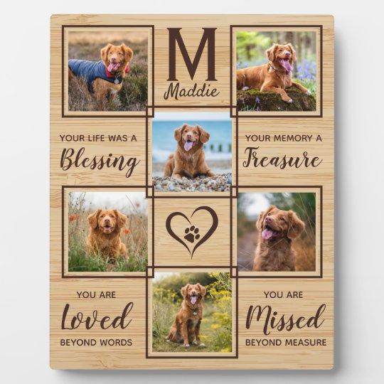 Natural Wood Dog Memorial Unique Photo Collage Plaque
