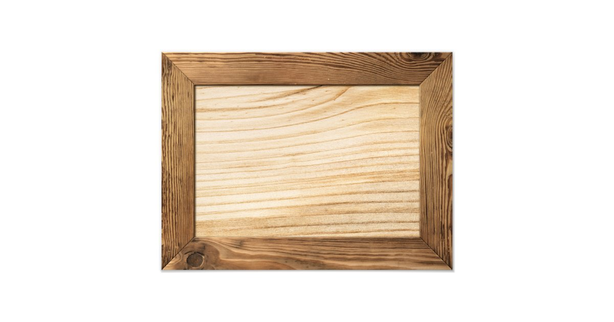 Natural Wood Frame With Wooden Plank Inside Photo Print ...
