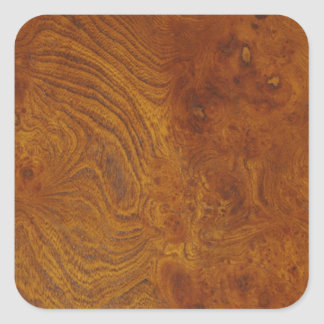 Natural Wood Grain Image with Golden Swirls Square Stickers