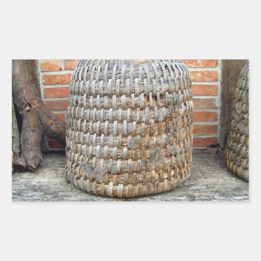 Natural Wooden Basket Rectangular Sticker