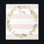 "Natural Woodland Floral Personalized Notepad<br><div class=""desc"">A pattern of whimsical florals and woodland branches and greenery in neutral shades of blush, ivory and pink adorn this pretty notepad that&#39;s personalized with your name on each sheet. With a coordinating stripe background in soft fawn beige and white, it&#39;s a neutral, feminine and modern vintage look - the...</div>"