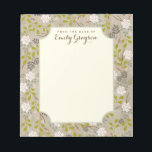 """Natural Woodland Floral Personalized Notepad<br><div class=""""desc"""">A pattern of whimsical florals and woodland branches and greenery in neutral shades of blush, ivory and pink adorn this pretty notepad that&#39;s personalized with your name on each sheet. With a lovely faux burlap linen look background that gives it a feminine and modern vintage look, it&#39;s the perfect pad...</div>"""