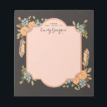 """Natural Woodland Floral Personalized Notepad<br><div class=""""desc"""">A pattern of whimsical florals, Autumn leaves and pheasant feathers in seasonal shades of apricot, pumpkin and dusty blue adorn this pretty notepad that&#39;s personalized with your name on each sheet. Shown with a contrasting mocha brown background that gives it a feminine and modern vintage look, but can easily be...</div>"""