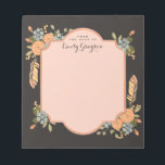 "Natural Woodland Floral Personalized Notepad<br><div class=""desc"">A pattern of whimsical florals, Autumn leaves and pheasant feathers in seasonal shades of apricot, pumpkin and dusty blue adorn this pretty notepad that&#39;s personalized with your name on each sheet. Shown with a contrasting mocha brown background that gives it a feminine and modern vintage look, but can easily be...</div>"