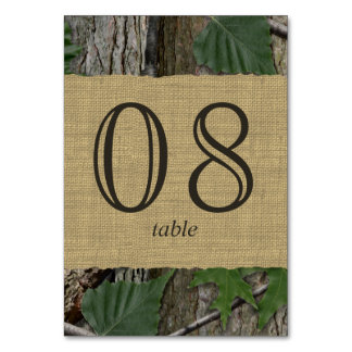 Natural Woodland Trees Table Number Card Table Card