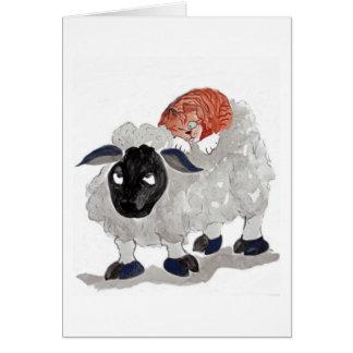 Natural Wool Cat Nap   Sumi-e Card