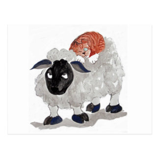 Natural Wool Cat Nap   Sumi-e Postcard