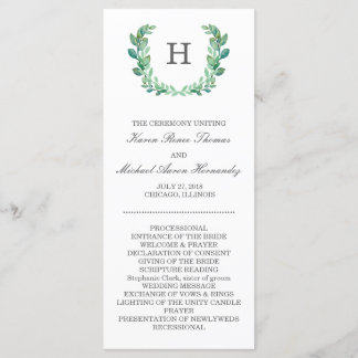Natural Wreath Wedding Program