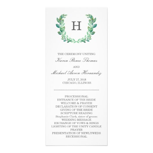 Natural Wreath Wedding Program | Zazzle