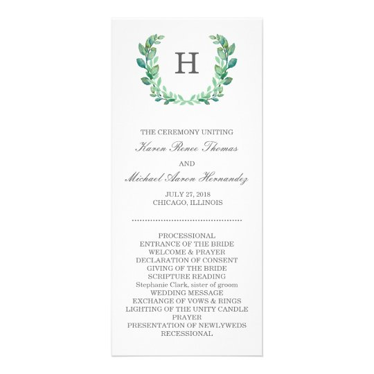 Natural Wreath Wedding Program | Zazzle